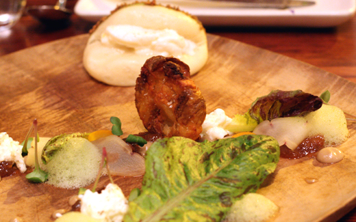 Chinese meets Italian in this dish of steamed bun with burrata.