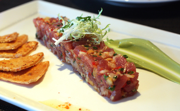 Ahi tartare with lovely pine nuts.