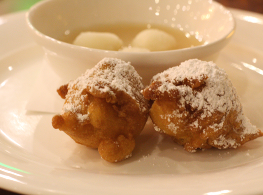 Beignets with pear soup.