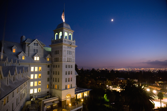 Berkeley's Claremont Resort at night. (Photo courtesy of the hotel)
