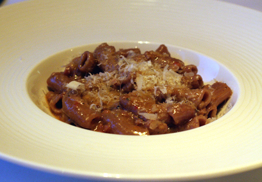 Whole wheat penne with bolognese.