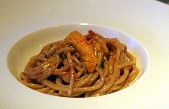 Durum wheat spaghetti with sea urchin. Oh my!