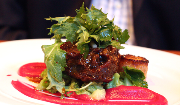 Tender beef cheeks with hot pink beet puree.
