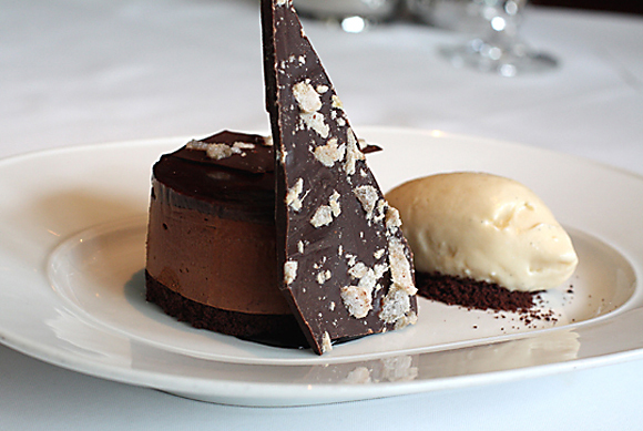 Cerdan's chocolate honey mousse cake with ginger ice cream and ginger chocolate bark.