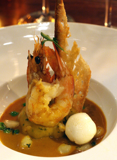Gulf prawn with lima bean puree, peas and quail eggs.