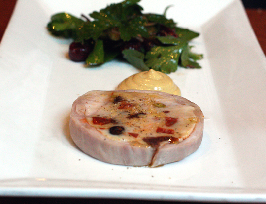 Rabbit terrine with the surprise of blood sausage and chorizo.