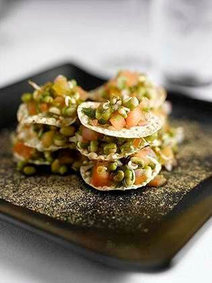 Devi's mung bean chaat. (Photo by Ben Fink)