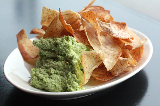 Taro chips with chunky edamame hummus.