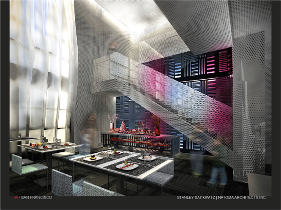 The new Trace restaurant, which will open this summer. (Photo courtesy of the W Hotel)
