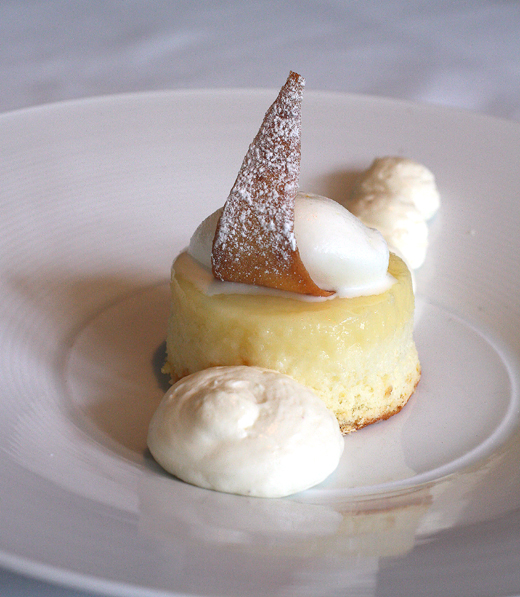 Meyer lemon pudding cake with white chocolate and yogurt sorbet.