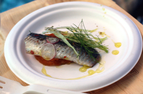 Chris Cosentino's marinated sardine with spreadable, spicy salumi.