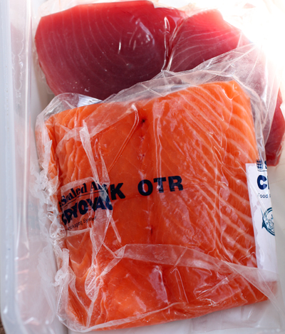 The fish is vacuum-packed for delivery.