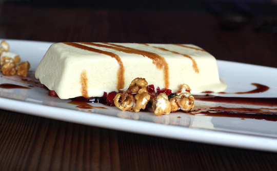 Gluten-free roasted white chocolate semifreddo.