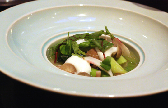 Spring vegetables in a powerful dashi.
