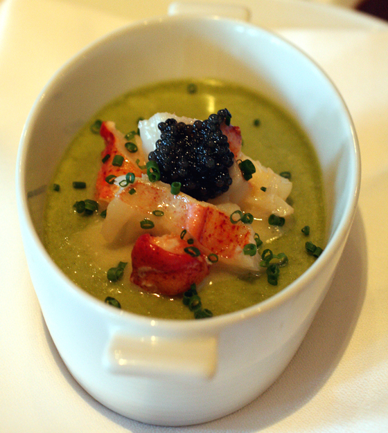 Asparagus flan with lobster and caviar at the posh Village Pub in Woodside.