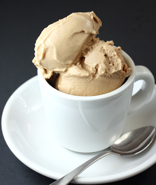 French Press sorbet made with agave nectar and no dairy products.