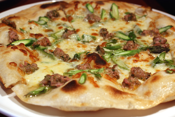 Asparagus and lamb pizza at Rose Pistola.