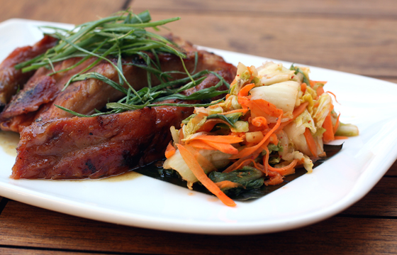 Vietnamese-style caramelized ribs cooked sous vide, finished on the grill, then served with housemade kimchee.