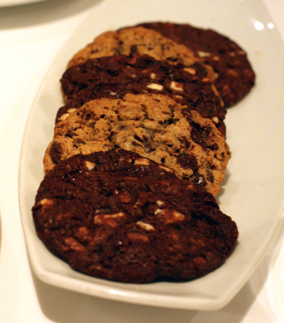 Palm-size chocolate cookies.