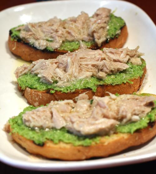 Grilled, crusty bread spread fava bean puree and lusty olive-oil preserved tuna.