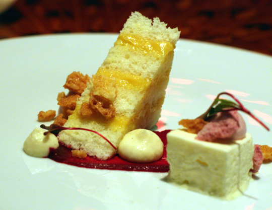 Airy passionfruit cake with lemon semifreddo and beet sauce.