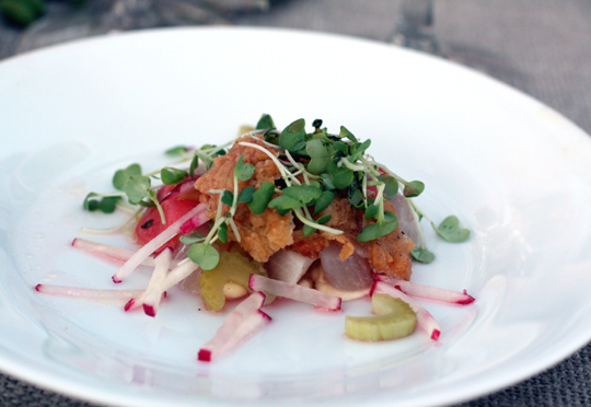 Raw hamachi with crunchy, fried chicken skin. Trust me, it works.