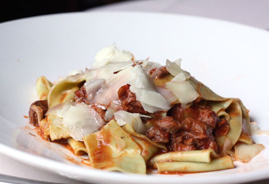 Lamb ragu with spinach pappardelle.