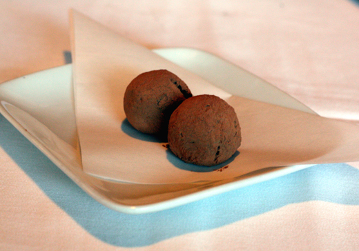 A last bite of chocolate truffles.