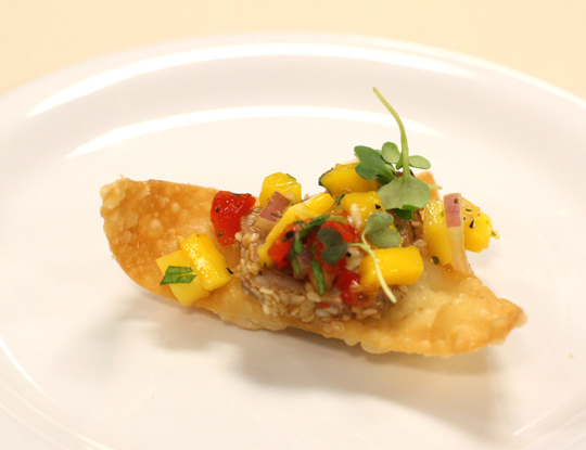 Seared ahi with mango salsa.
