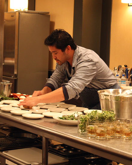 Chef Brandon Jew of Bar Agricole preparing his pig head gelee dish.