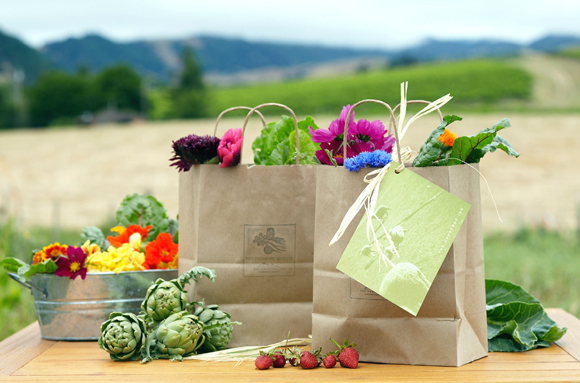 Fresh fruit, veggies and flowers to take home from the Carneros Inn. (Photo courtesy of the resort)
