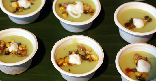 Chilled avocado soup by Tacolicious.