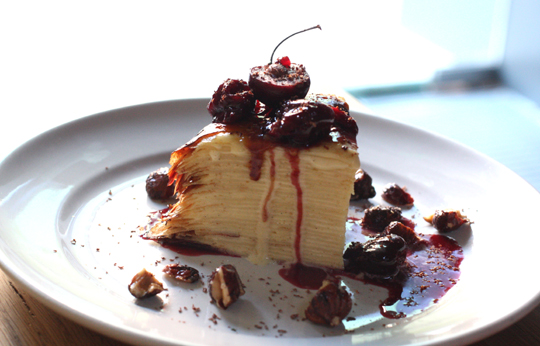 An amazing, towering crepe cake.