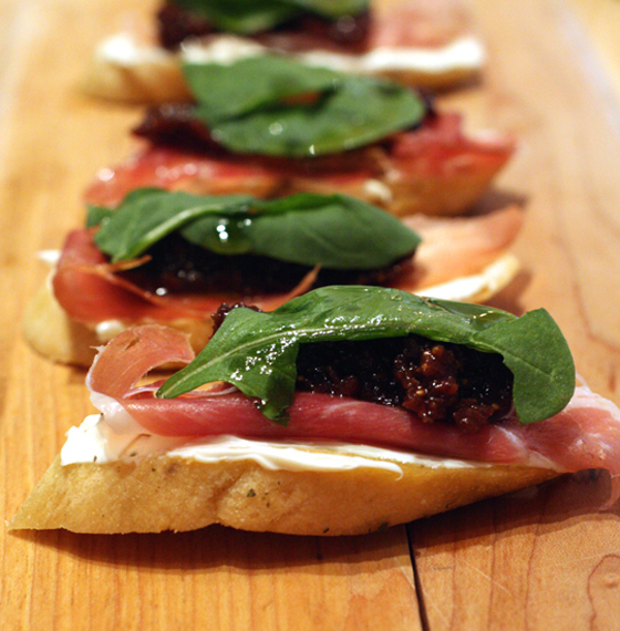 Fig, mascarpone and speck crostini.