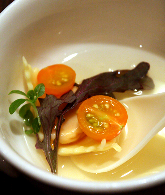 Flower + Water's twist on classic tortellini en brodo.