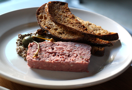 Rustic pork pate to spread on crusty slabs of bread.