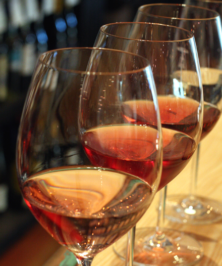 A flight of rosés.