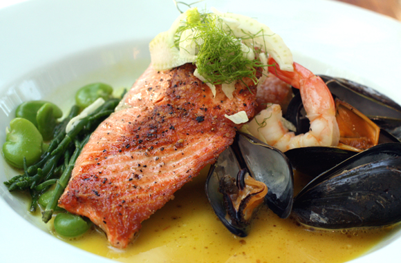 The signature salmon dish at Corks restaurant at Russian River Vineyards.