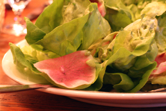 Butter lettuce salad with shaved radishes and Green Goddess dressing.