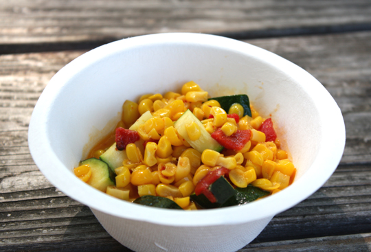 Sweet, buttery, crunchy corn succotash.