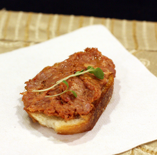 Terje's andouille sausage crostini.
