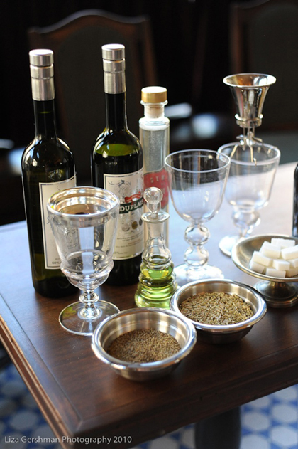 The necessities for a complete absinthe tasting. (Photo by Liza Gershman Photography)