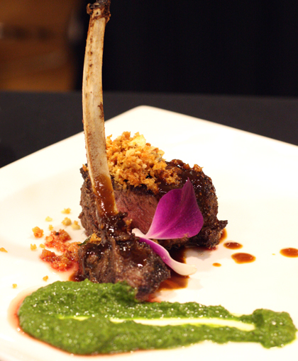Zare's cocoa-anchovy dusted lamb with salsa verde and kabocha mash.