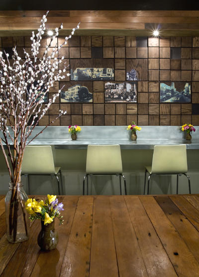 The interior of Local Mission Eatery, which boasts environmentally friendlyl materials. (Photo courtesy of the restaurant)