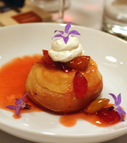 A donut-like Brioche Savarin with wild plum confiture.