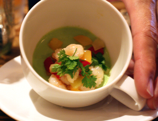 Shrimp with a Green-Goddess-like basil panna cotta.
