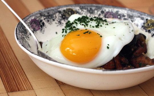 Grits (from corn ground in-house) with local mushrooms and a sunny-side-up egg.