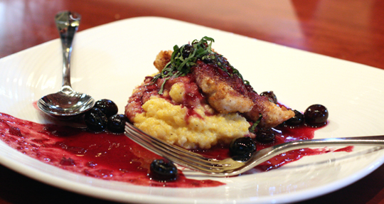 Timmy Baker's chicken with blueberry-Pinot Noir sauce and goat cheese polenta.
