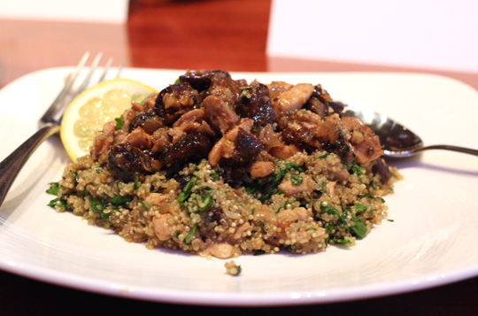 Jennifer Daskevich's chicken dish with figs and quinoa, as plated by her.