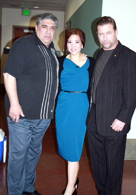 Yours truly, with the most makeup I've ever worn, and flanked by Vincent Pastore and Stephen Baldwin. Not a bad way to spend a day, hey?